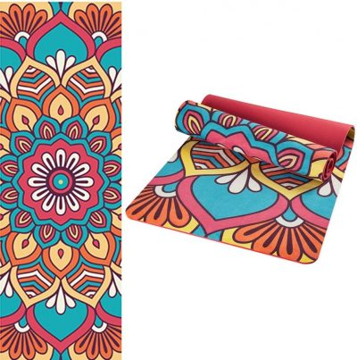 ultra thin travel yoga mat non slip printed
